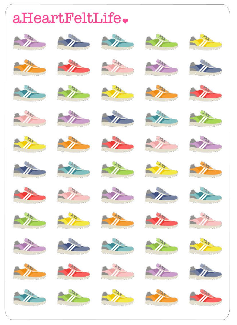 Running scrapbook ideas - 50 Multicolor Running Shoe Stickers Perfect For Your Erin Condren Planner Scrapbook Calendar