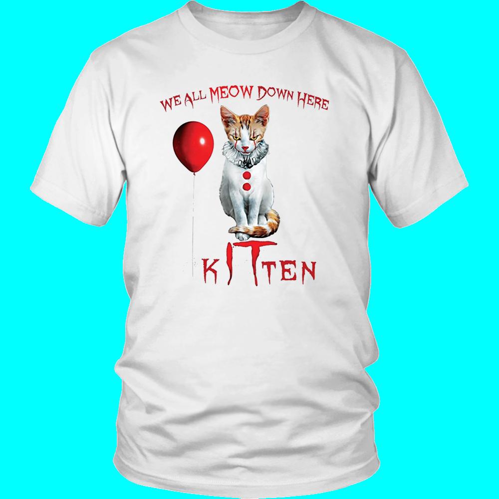 We All Meow Down Here Clown Cat Kitten It Halloween T Shirt Teefim