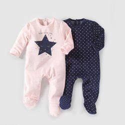 pyjama velours lot de 2 0 mois 3 ans r essentiel b b. Black Bedroom Furniture Sets. Home Design Ideas