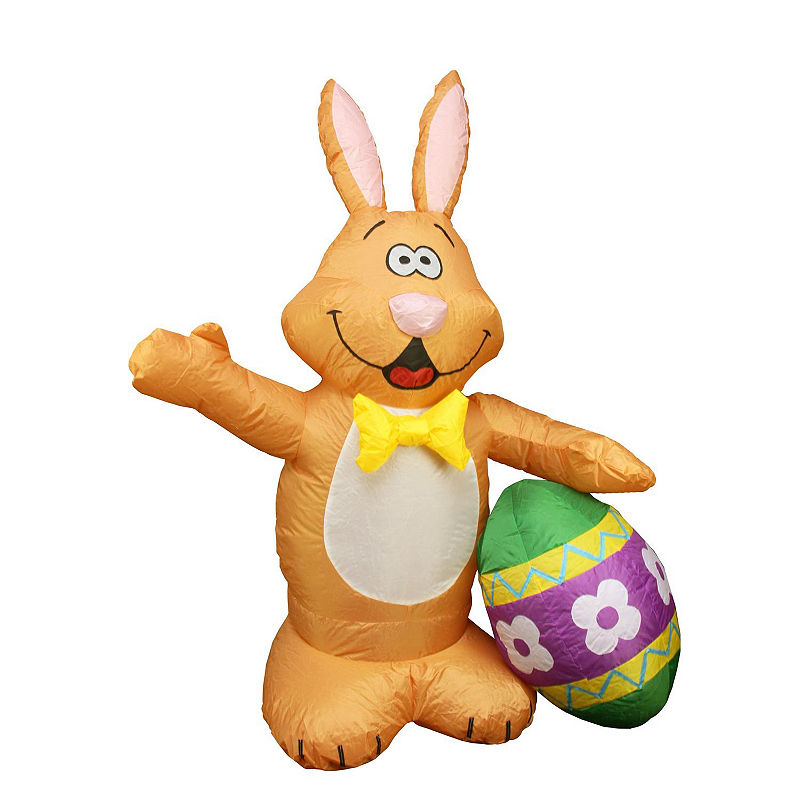 4\u0027 Inflatable Lighted Bunny with Easter Egg Yard Art Decoration