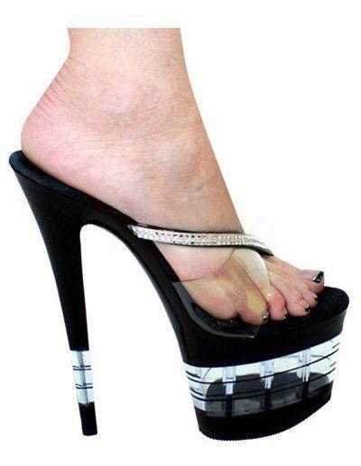 Black 7 9/10'' Heel 3 1/2'' Platform PU Womens Sexy Sandals