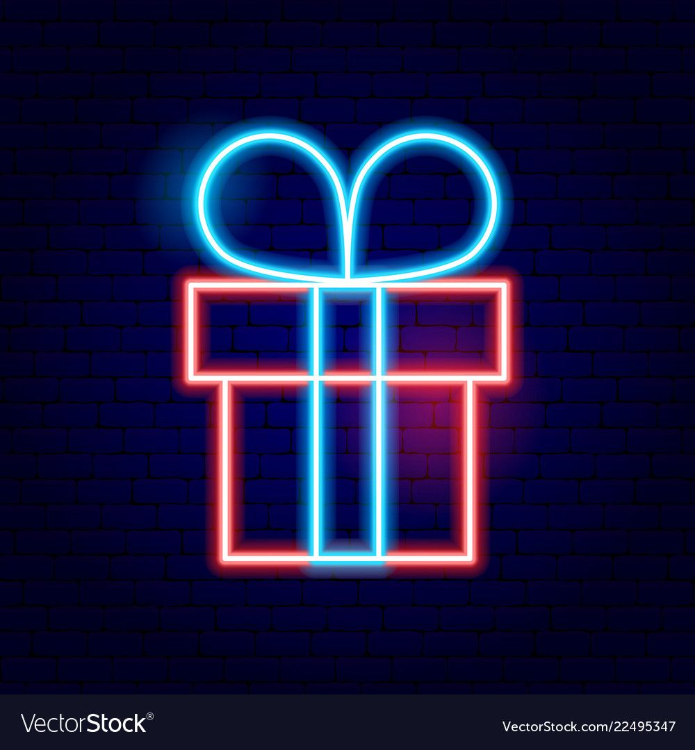 Present box neon sign vector image on Sinal de neon