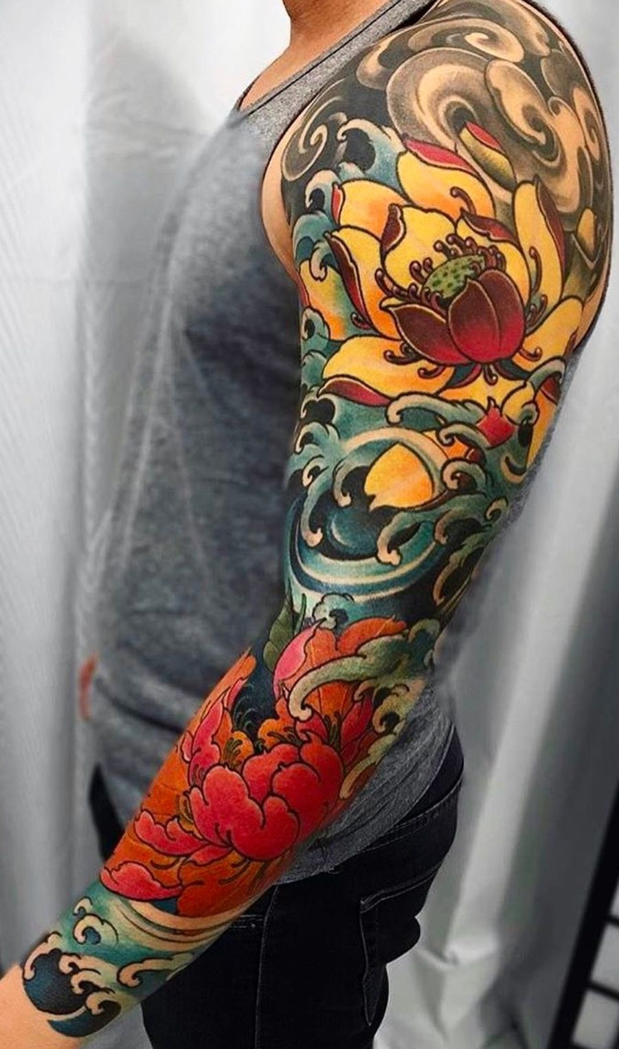 e70da9af9 Crashing water and clouds neo-traditional Japanese Lotus Tattoo, Koi Fish  Tattoo, Japanese