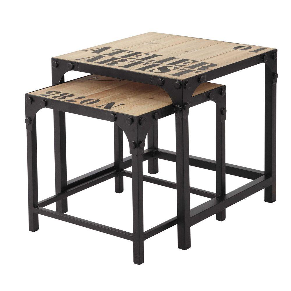 2 Tavoli Bassi Stile Industriale In Legno E Metallo L 45 Cm | Maisons Du  Monde