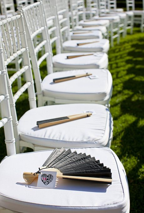 Black And White Wedding Ideas The Gave Fans As A Favor