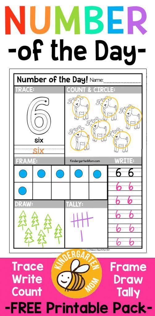 Free Kindergarten Number Worksheets - trace, count, color, frame ...