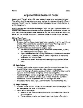 argumentative essay research paper  teacherspayteachers  for this assignment students are asked to choose a controversial topic  conduct research on their issue and then argue one side of it in a   page essay