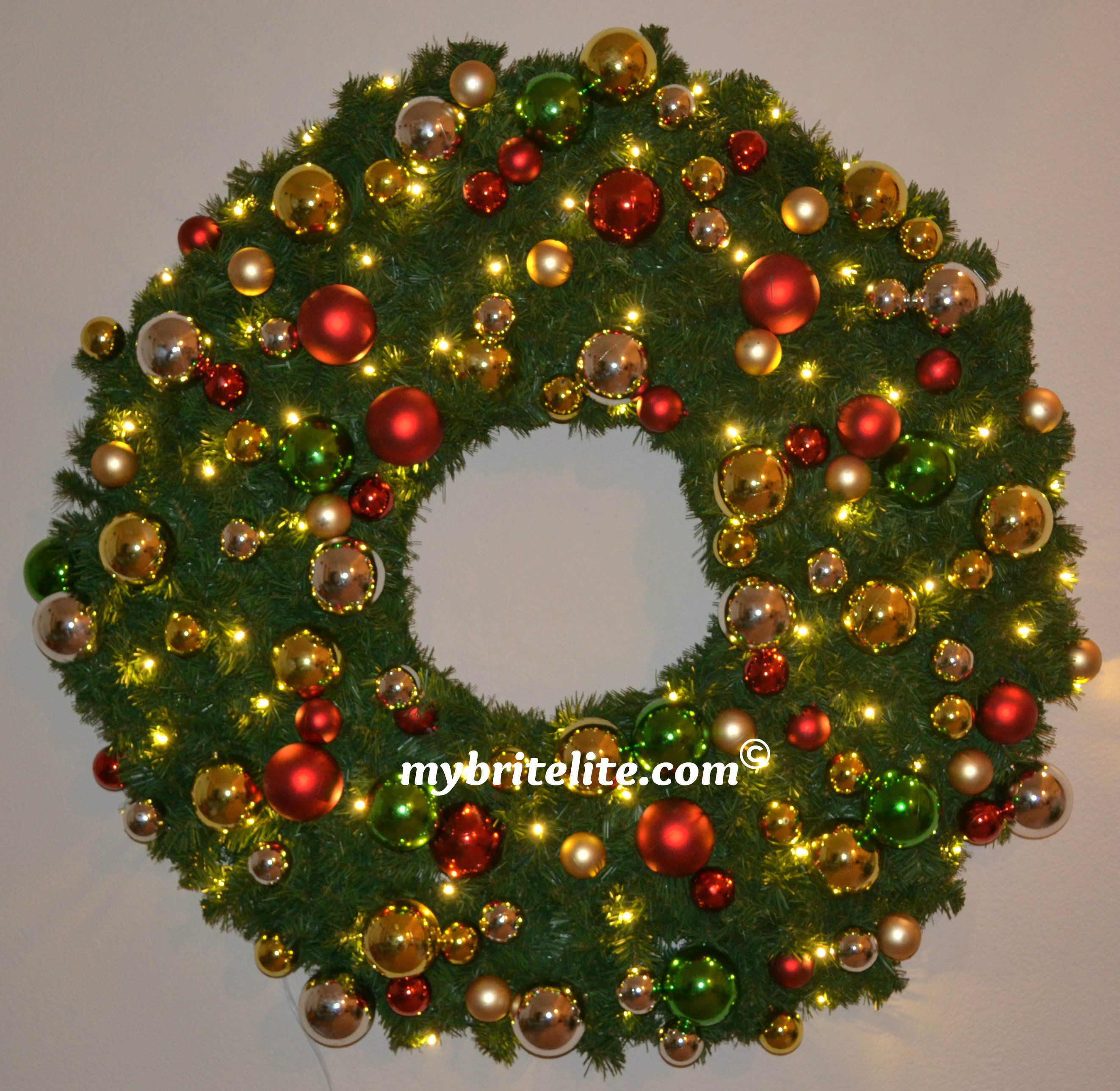 4 ft pre lit led christmas wreath with multi colored christmas pre lit led christmas wreath with multi colored christmas balls 70 mozeypictures Choice Image