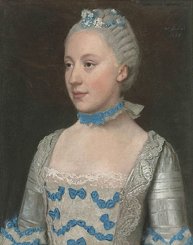 1757 Madame Saint Pol, half-length, in a light blue gown trimmed with blue silk bows and white lace by Jean Étieenne Liotard (auctioned by Christies)