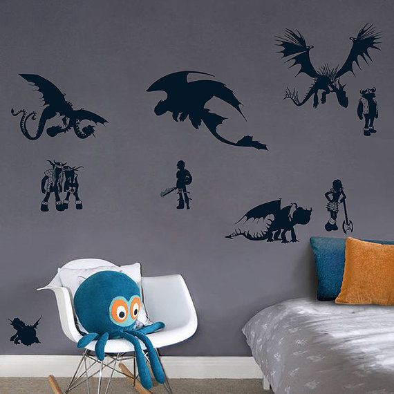 Set How To Train Your Dragon Wall Decal Toothless Vinyl Sticker - Custom vinyl wall decals dragon