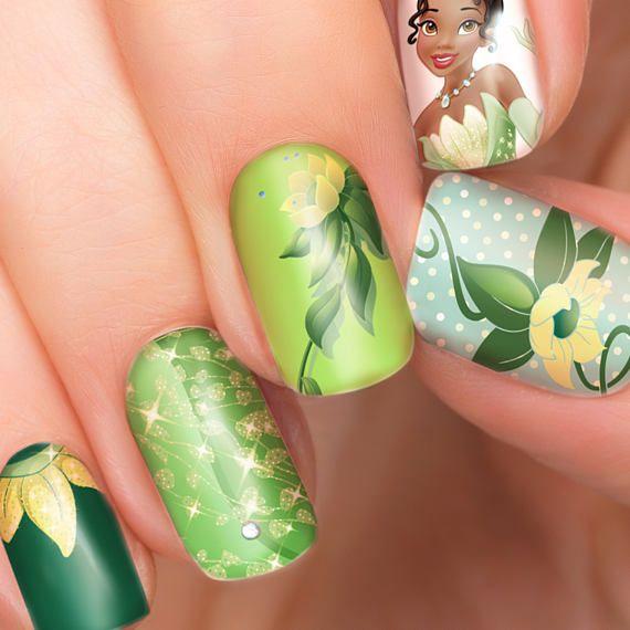 Tiana Disney nail transfers - illustrated nail art decals - Princess ...