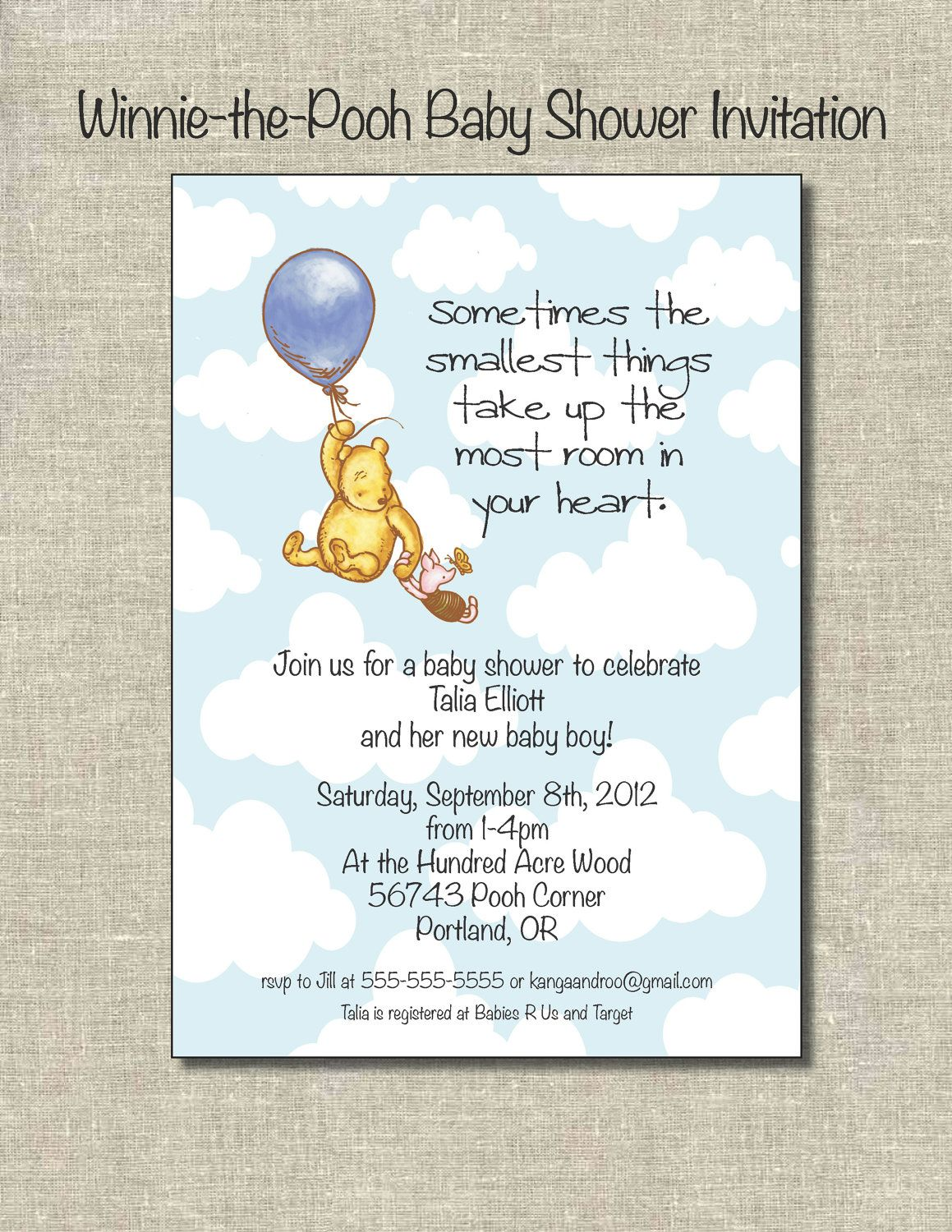 Winnie The Pooh Baby Shower Invitation/Digital File