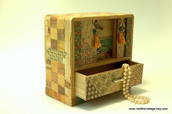 Vintage Japanese Wooden Jewelry Box with Three RedLittleVintage
