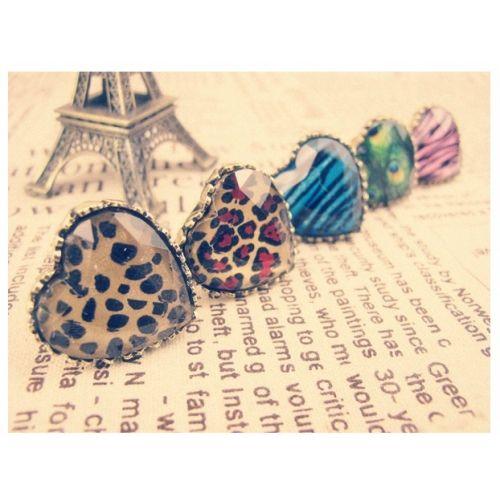 Europe America Retro Peach Heart Peacock Feather Leopard Grain Rings Fashion Jewelry Wholesale China Jewelry