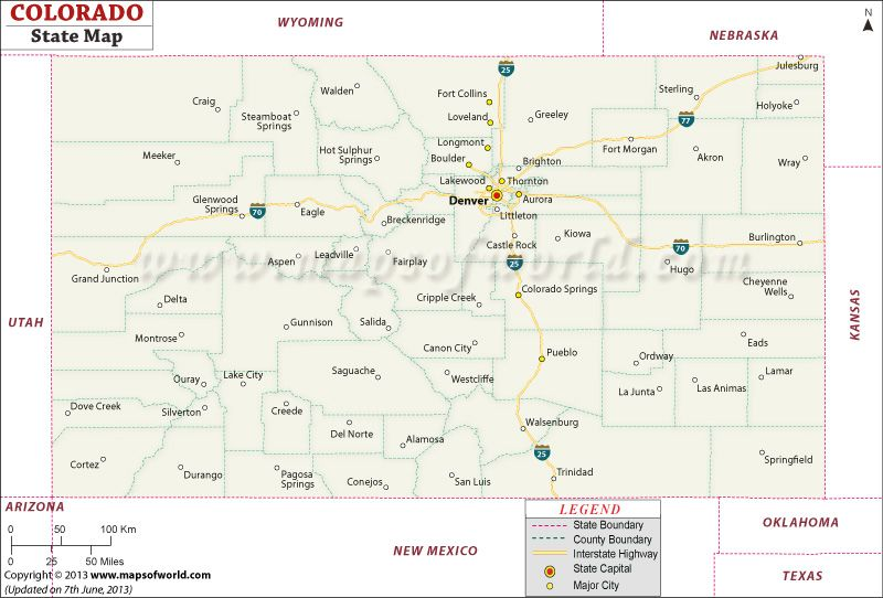 Map of Colorado - not as we expected this state to look.... in ...