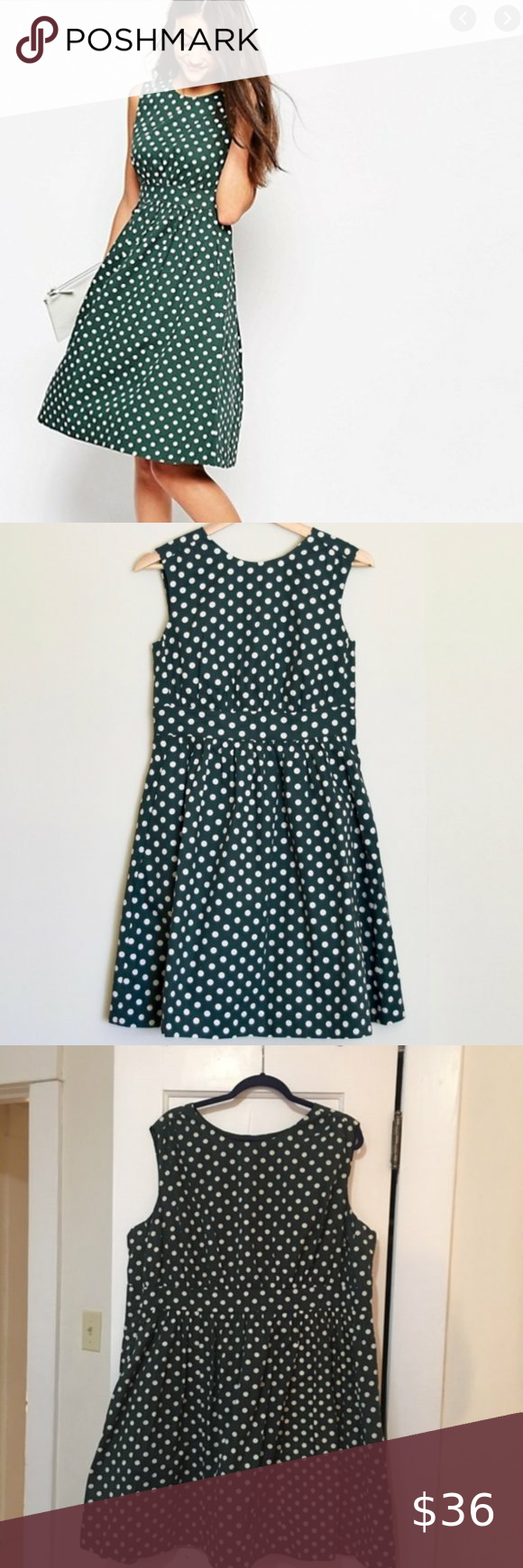 Emily & Fin Green Polka Dot Fit & Flare Dress This is the classic, retro vintage inspired