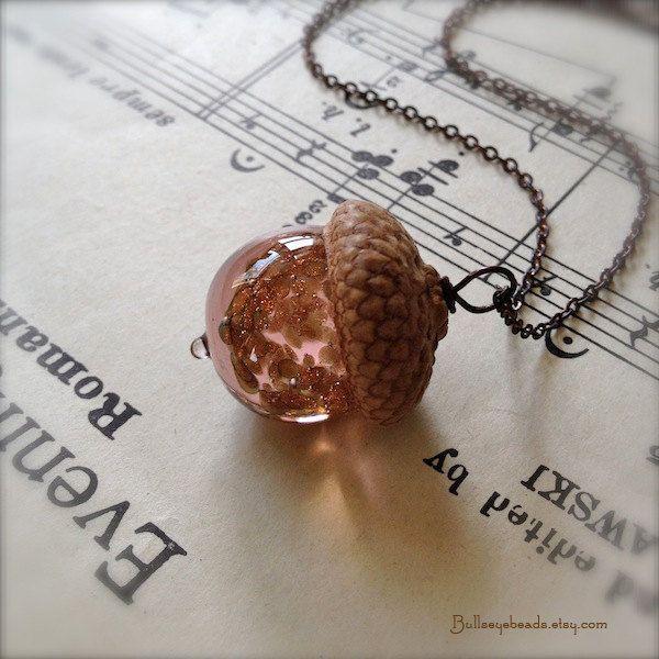 Glass Acorn Necklace - Vintage Valentine Pink with Goldstone Sparkles by Bullseyebeads. $24.00, via Etsy.