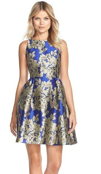 Adrianna Papell Metallic Jacquard Fit Flare Dress Elegant Party Dresseswedding Guest