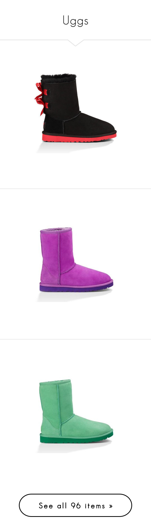 """""""Uggs"""" by bossqueen15 on Polyvore featuring shoes, boots, uggs, girls, embellished shoes, black clog shoes, clogs footwear, black bow shoes, bow shoes and ankle booties"""