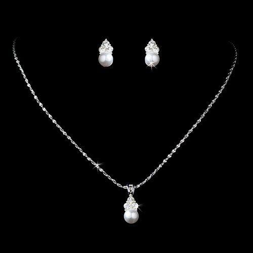 Bridal Wedding Jewelry Set Crystal Pearl Simple Floral Elegant