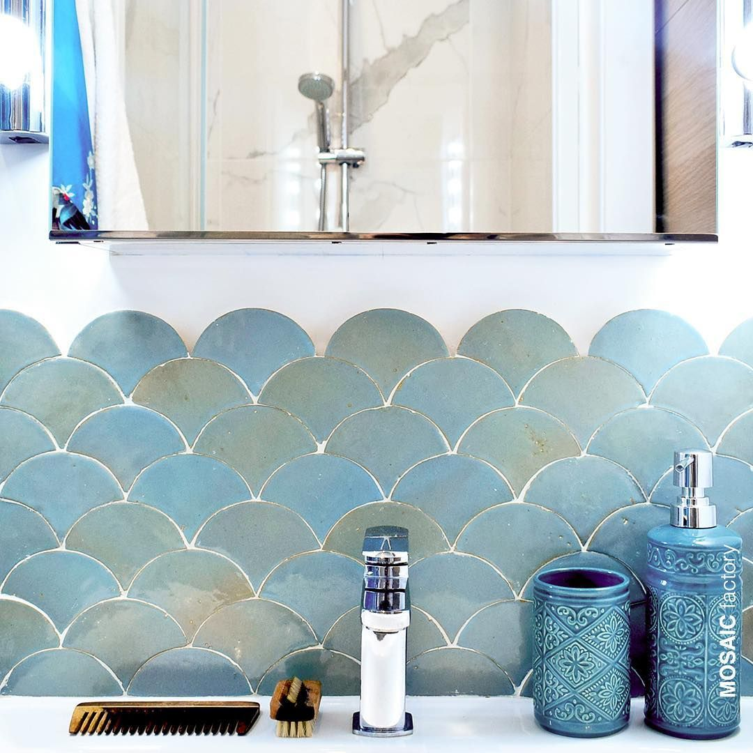 Bathroom Vanity Scallop Zellige Wall Tiles In Shifting Shades Of Turquoise Blue From Mosaic Fac Fish Scale Tile Bathroom Modern Bathroom Renovations Fish Tiles
