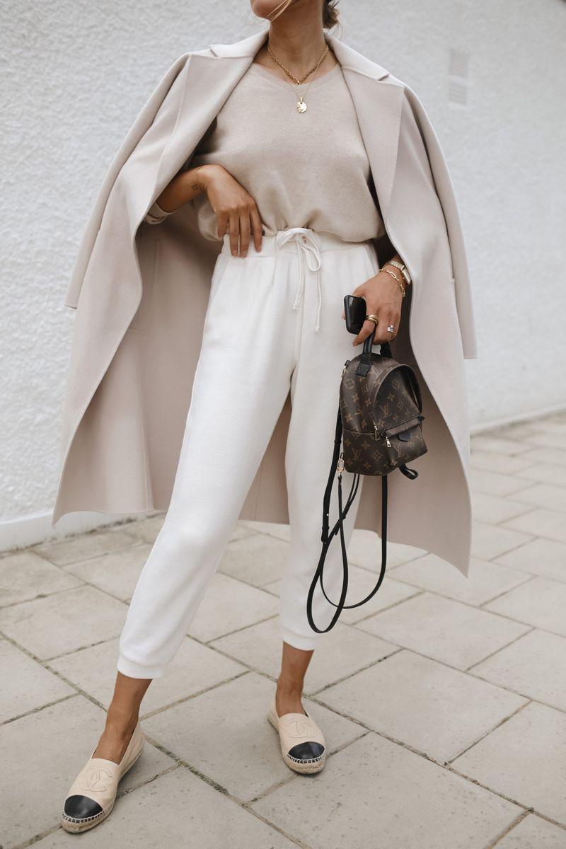 Knit joggers & cashmere coat