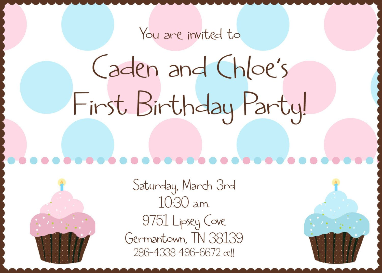 Twin First Birthday Cupcake Birthday Party Invitation Digital