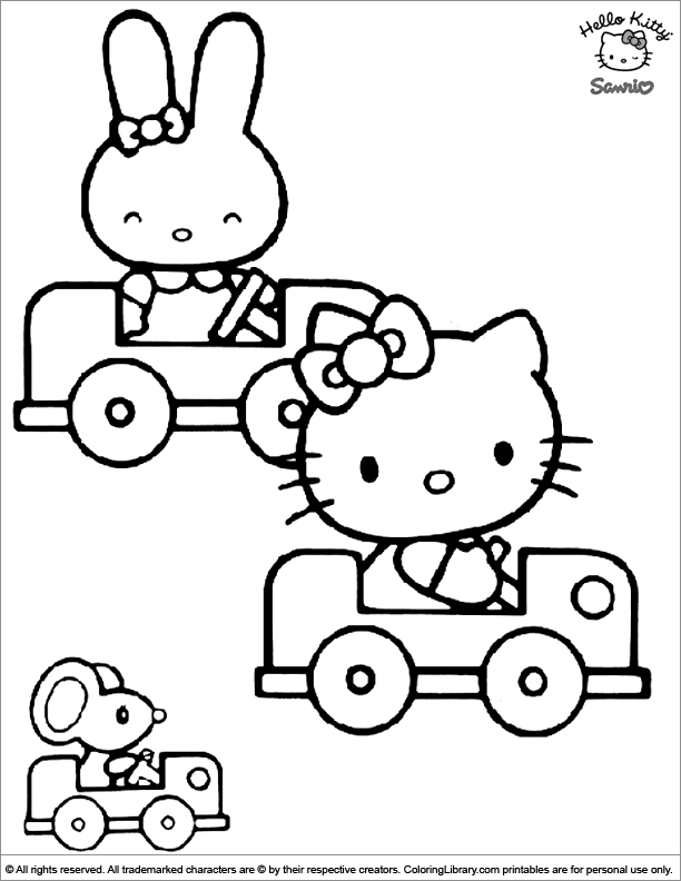 Hello Kitty Coloring Page Kitty Is Riding In A Car Hello Kitty Coloring Hello Kitty Colouring Pages Kitty Coloring