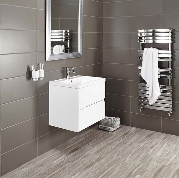 vermont 600 basin and gloss white wall mounted vanity unit rh pinterest com