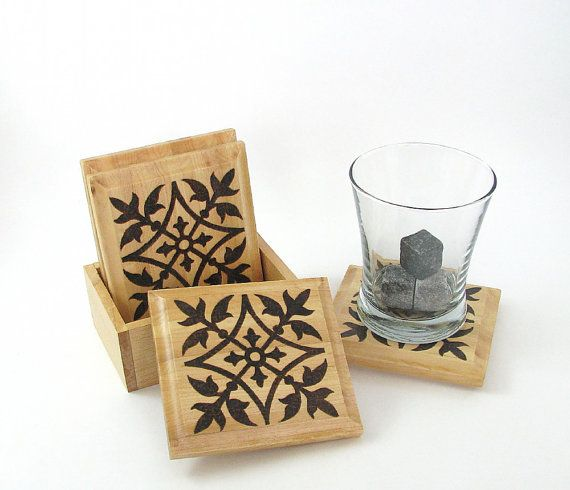 Floral Coasters  Creative Wood Pyrography  Wood by bkinspired, $45.00