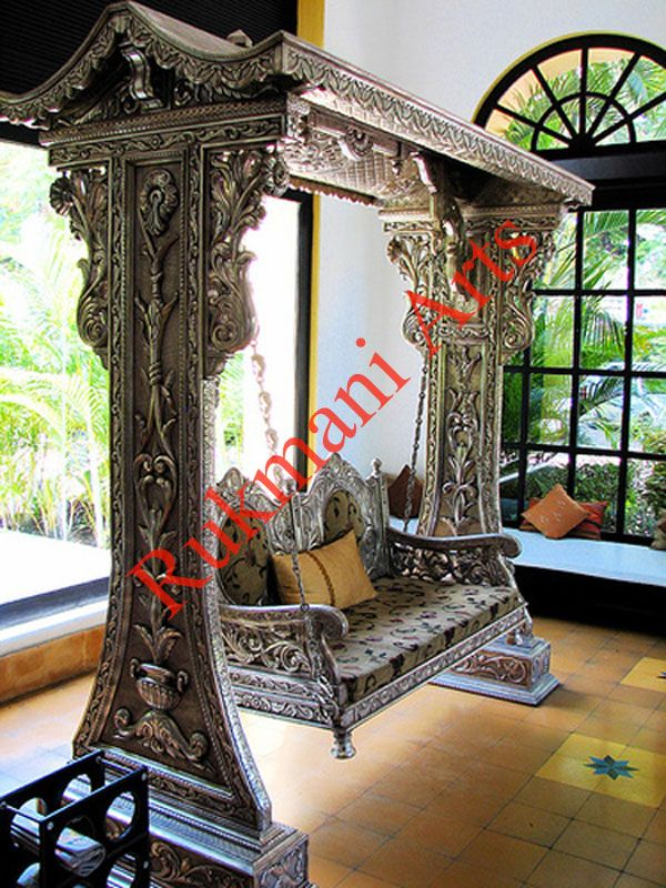 Buy carved indian wooden carved swings jhoola living for Living room jhula