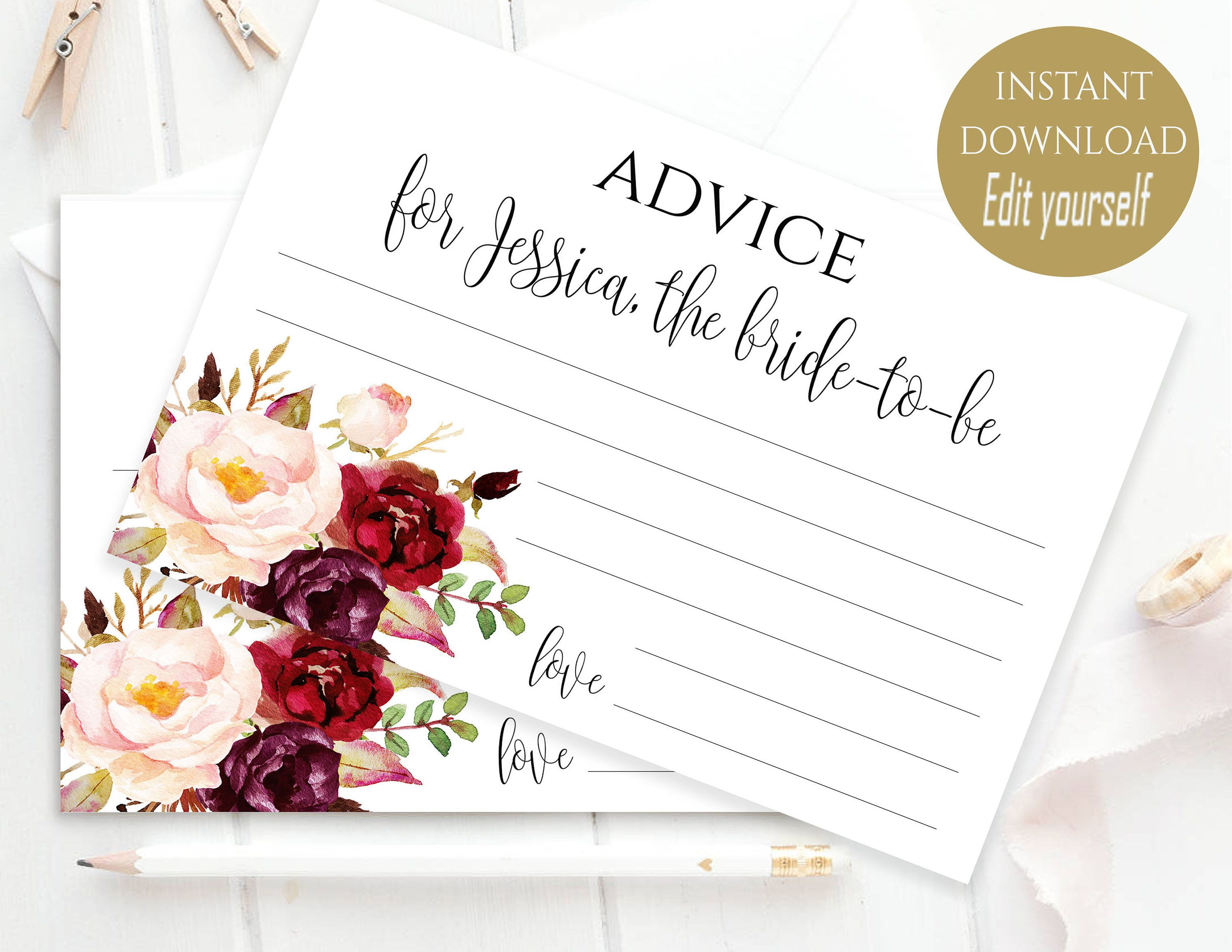 Shower Game Printable Blush Pink and Gold Floral Bridal Shower Date Night Card Template DIY Editable Advice Card Template Instant Download