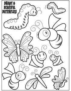 Print It Up On Cardstock And It Would Make A Cute Mobile Once It Is Colored Or Glue Them To Popsicle Sti In 2020 Bug Coloring Pages Free Coloring Pages Coloring Pages