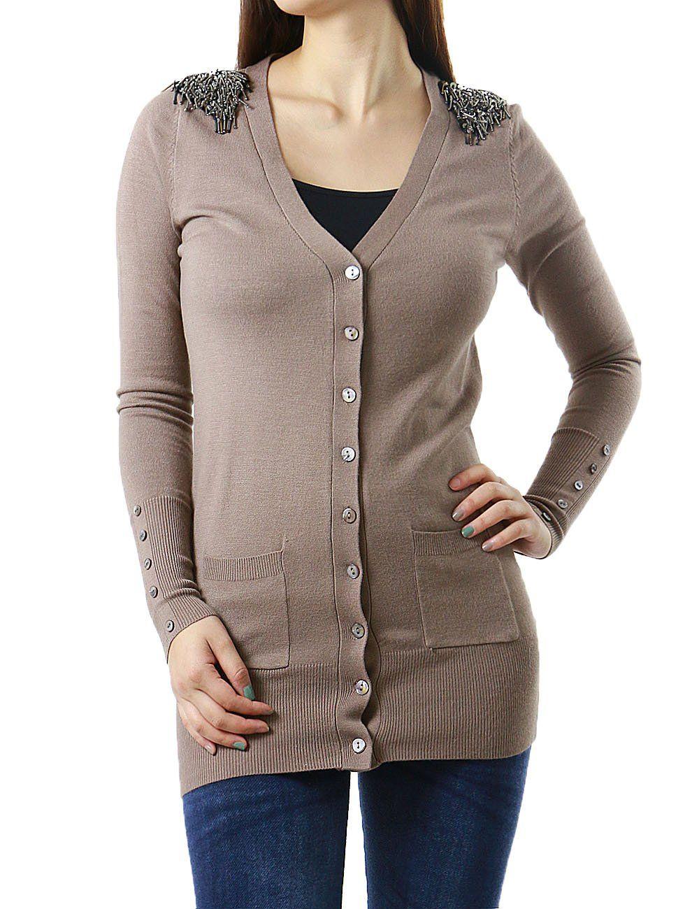 Shoulder Embellished Frontal Pockets Button Up Women's Cardigan ...
