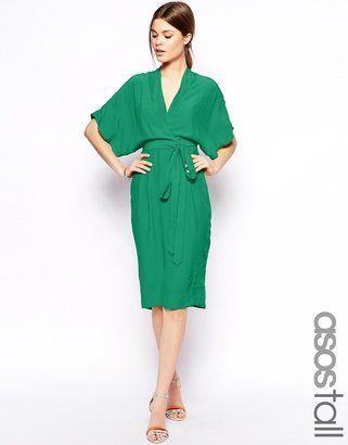 3a2353fa41d Asos Midi Dress with Kimono Sleeves - Black - ShopStyle