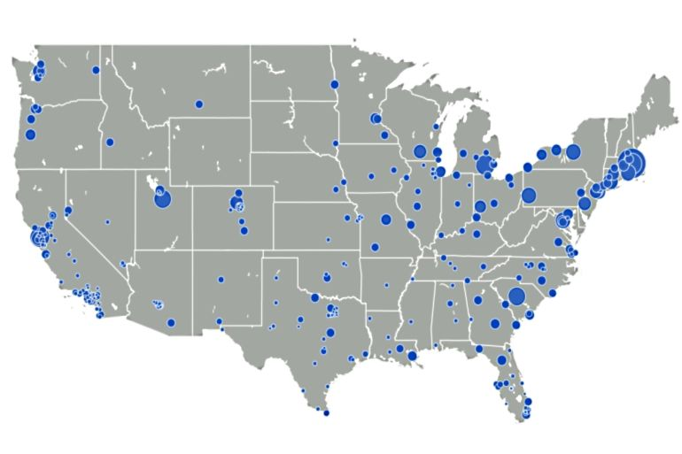 College Towns Loom Large In This Map Of US Cities With K - Us map largest cities
