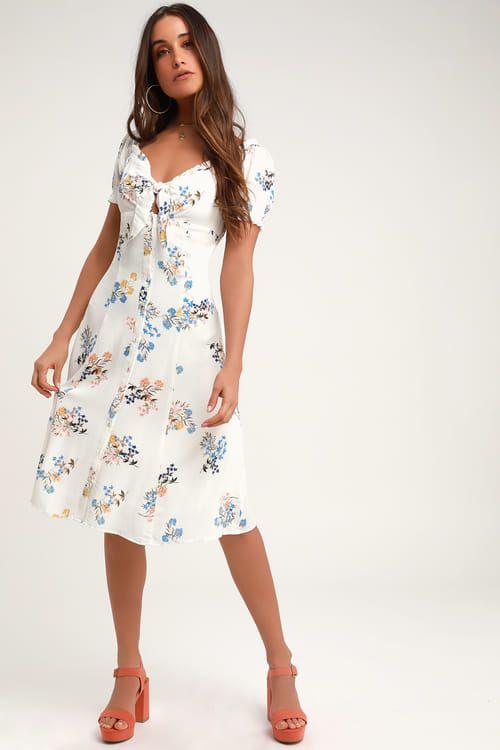 bd4f6b515041 Lulus | Ida White Floral Print Tie-Front Midi Dress | Size Large ...