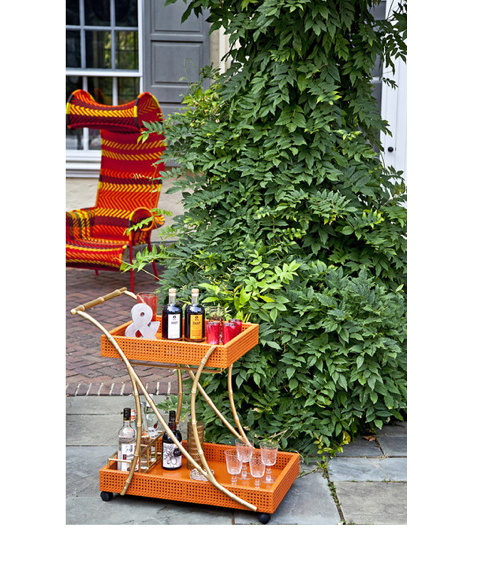 faux bamboo bar cart