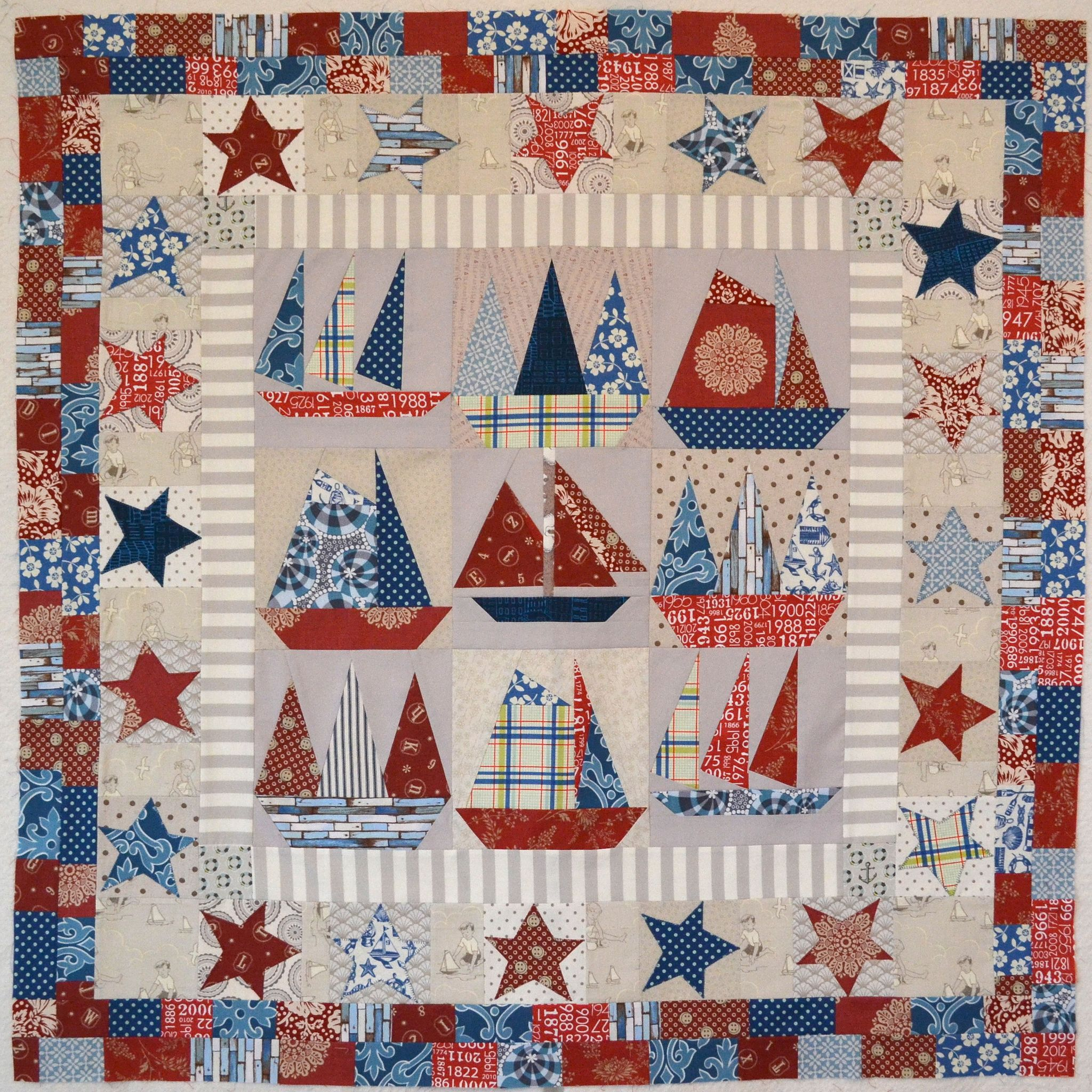 Sailboats Quilt Top Finished Baby Quilts Nautical Quilt