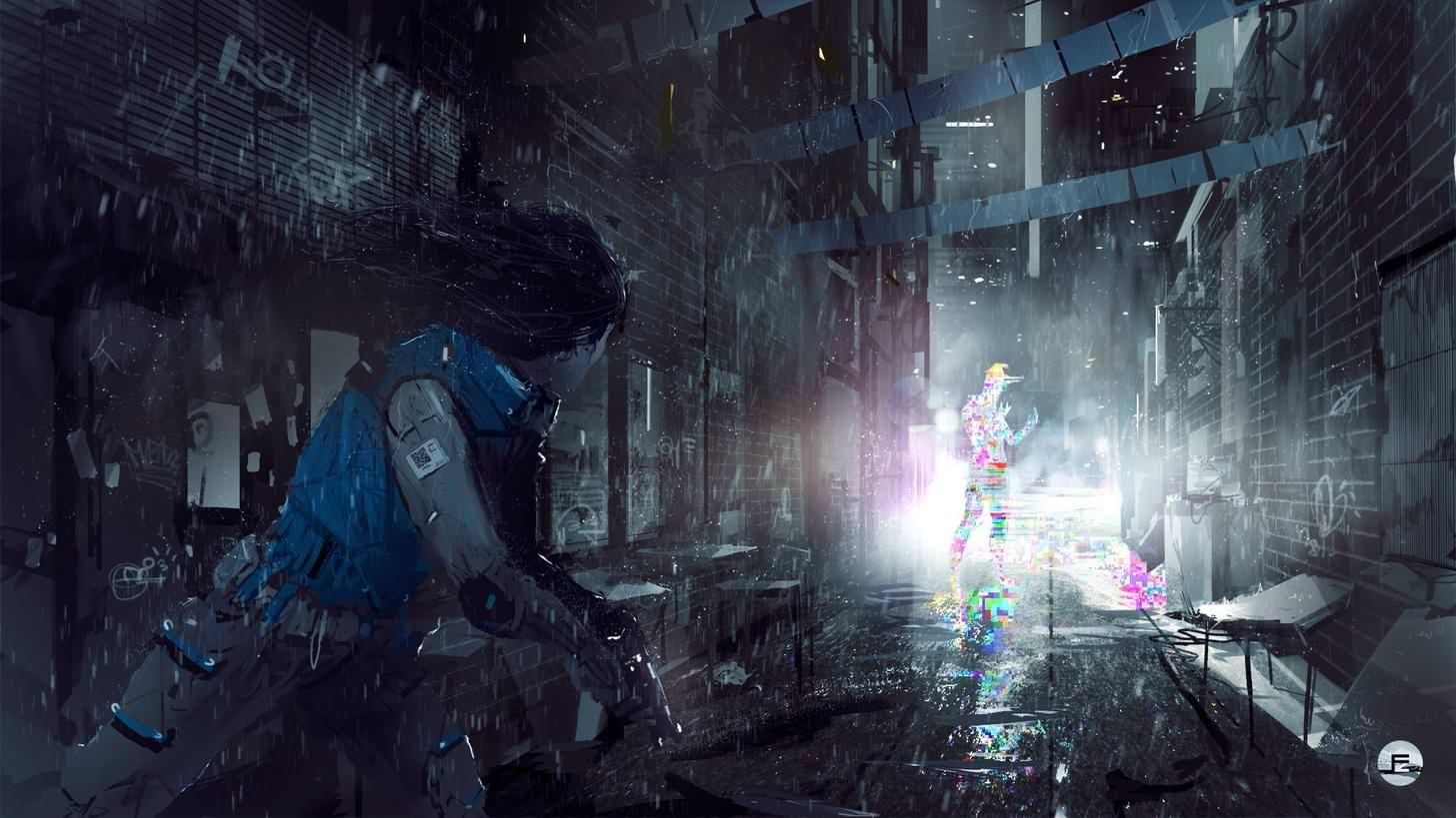Cyberpunk Cityscape Girl Digital Art City wallpaper