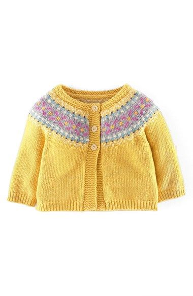 Mini Boden \'Pretty\' Fair Isle Cardigan (Baby Girls) available at ...