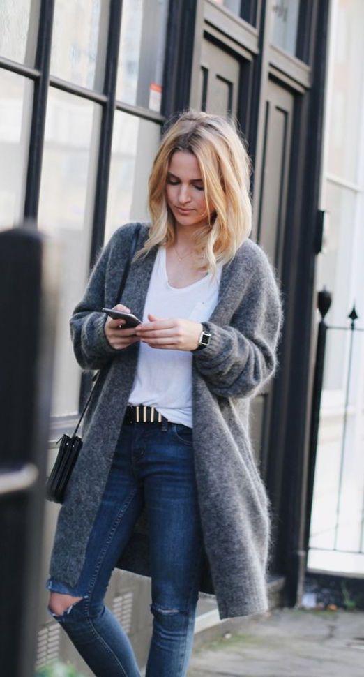 07837a264e7b #street #style / fluffy gray coat Grey Cardigan, Wool Cardigan, Grey Tee
