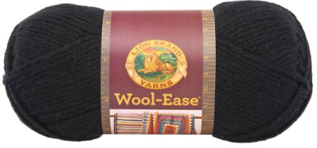 WOOL EASE- BLACK - Wool-Ease® is a 4-ply worsted-weight yarn that is so beloved by knitters and crocheters that it inspired an entire family of yarns. Wool-Ease® is appreciated for its versatility and value. It has the feel, warmth and softness of wool, combined with the easy care of machine wash-and-dryability.