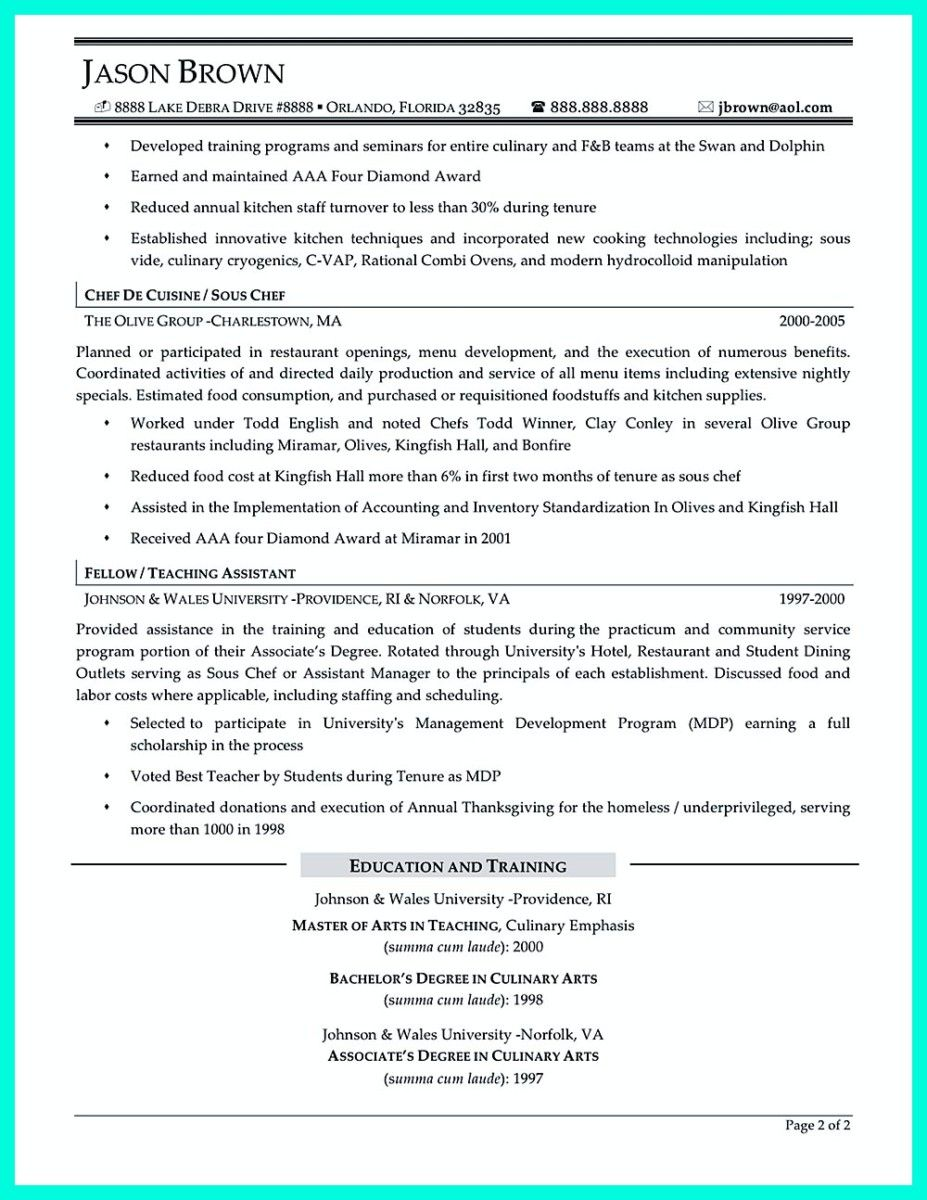 Chef Resume Pleasing Awesome Chef Resumes That Will Impress Your Future Company  Resume
