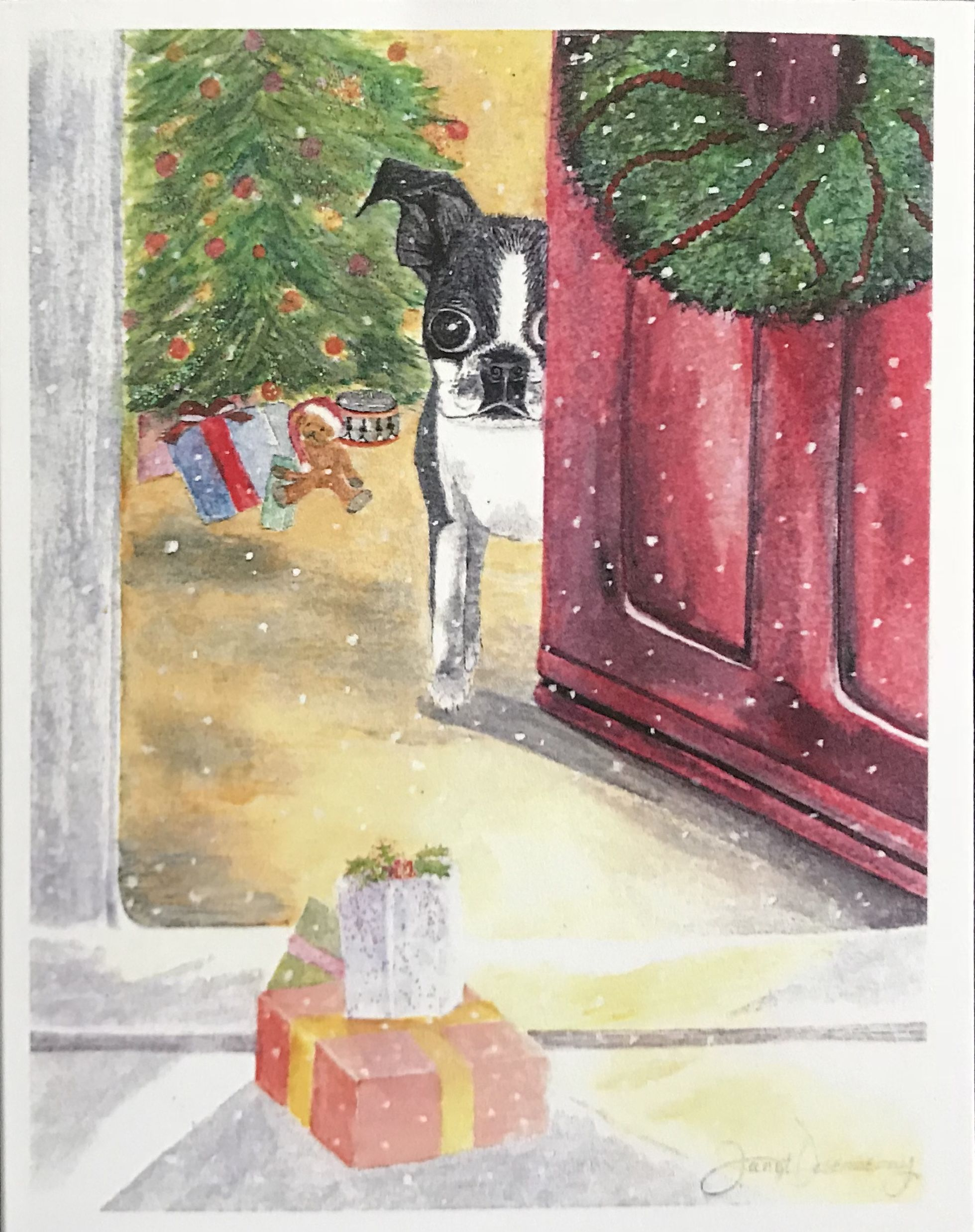 Fine art watercolor print made into Christmas card ...