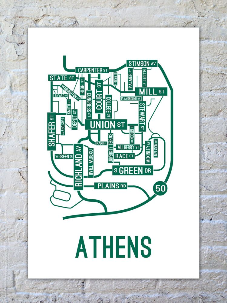 Athens Ohio Street Map Poster Printed With Environmentfriendly - Us college map poster