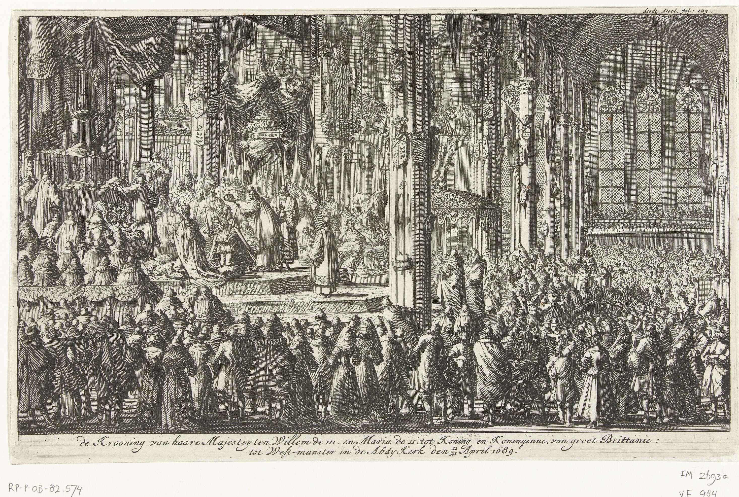 Jan Luyken | Kroning van Willem III, 1689, Jan Luyken, 1689 | De kroning van Willem en Mary tot koning en koningin van Engeland, 21 april 1689. Kroningsceremonie in een volle Westminster Abbey. Gemerkt rechtsboven: derde Deel. fol. 123.
