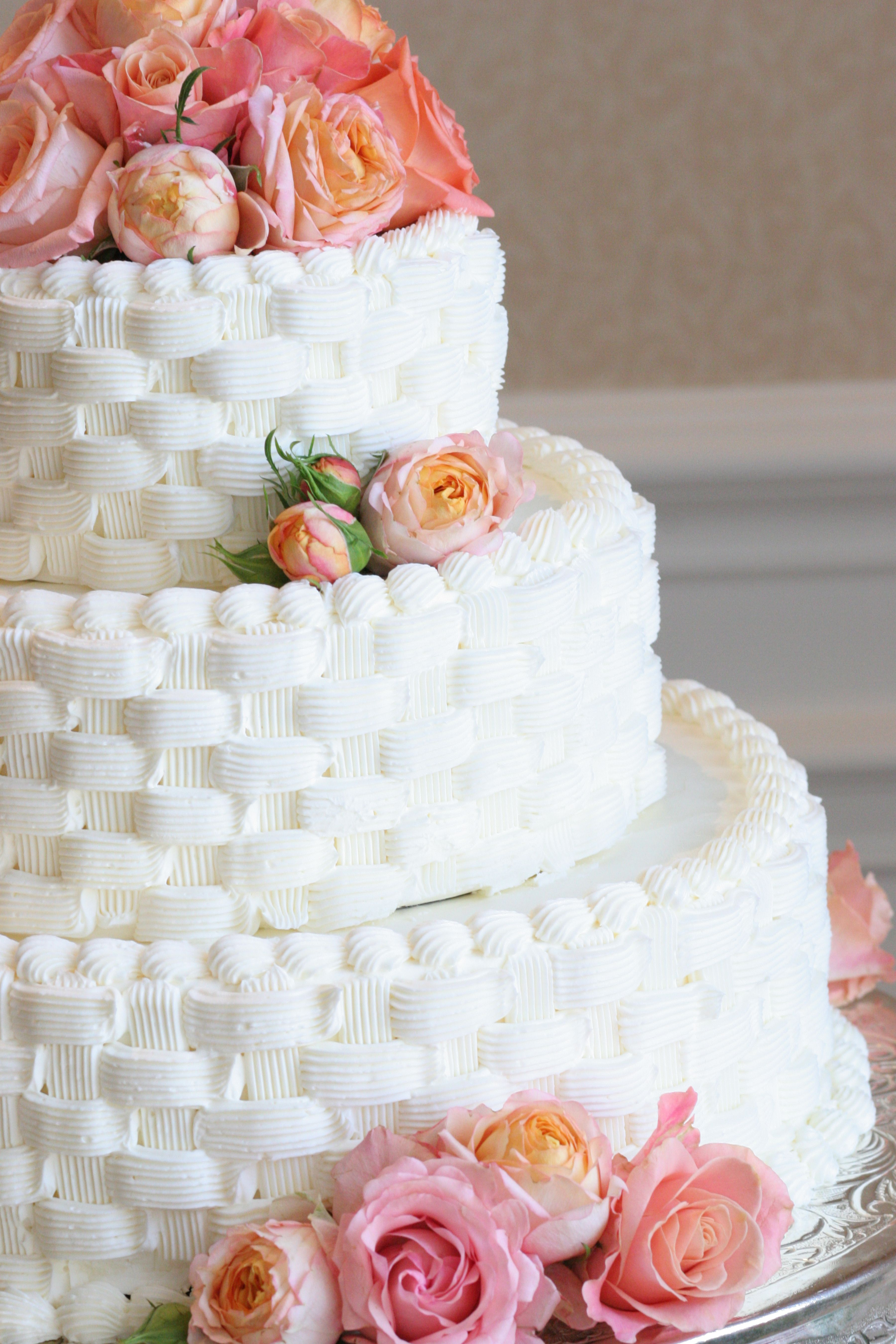 pink rose garden wedding cake pink wedding cake with basket weave looking frosting 18583