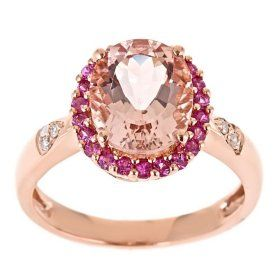 Morganite Pink Sapphire and Diamond Accent Ring in 14k Rose Gold