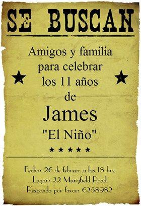 """""""Fiesta De Cumpleaños Vaquero"""" printable invitation ..."""